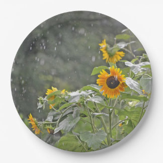Sunflowers In The Rain Paper Plate 9 Inch Paper Plate