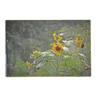 Sunflowers In The Rain Placemat Laminated Place Mat