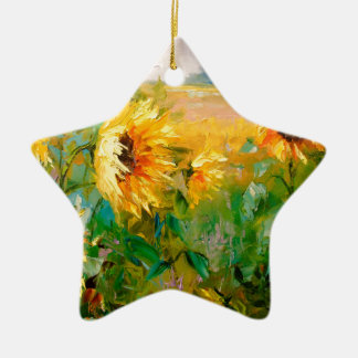 Sunflowers in the wind christmas ornament