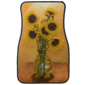 Sunflowers in vase on table 2 car mat