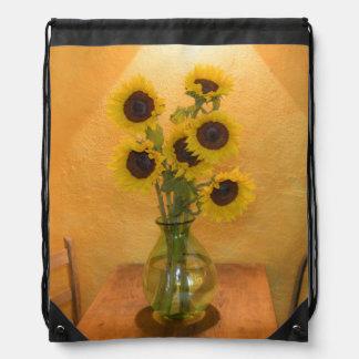 Sunflowers in vase on table 2 drawstring bag