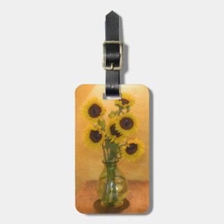 Sunflowers in vase on table 2 luggage tag