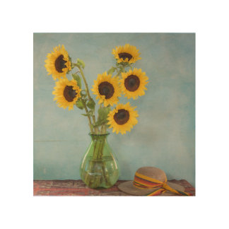 Sunflowers in vase on table wood wall decor