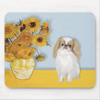 Sunflowers - Japanese Chin (L1) Mouse Pad