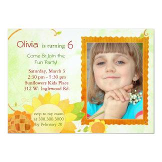 Sunflowers Kids Birthday Party Photo 13 Cm X 18 Cm Invitation Card