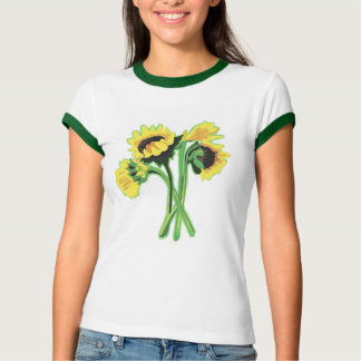 Sunflowers Ladies Ringer T-Shirt