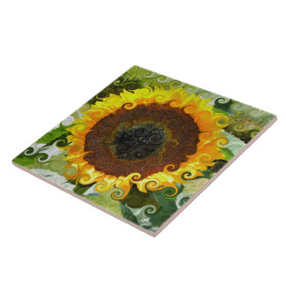 SUNFLOWERS LARGE SQUARE TILE