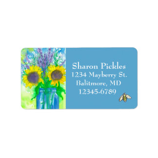 Sunflowers Lavender Honey Bee Address Label