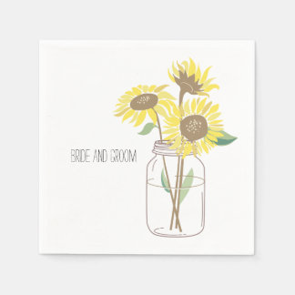 Sunflowers Mason Jar Disposable Serviette