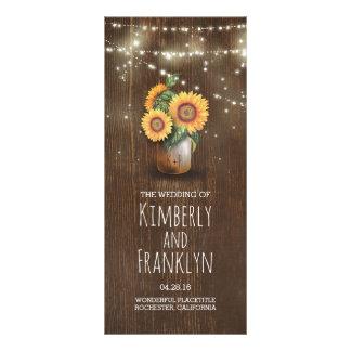 Sunflowers Mason Jar Rustic Wedding Programs Rack Card