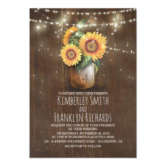 Sunflowers Mason Jar String Lights Fall Wedding Card