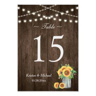 Sunflowers Mason Jar String Lights Table Number Card