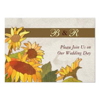 Sunflowers Monogram Wedding Invitation