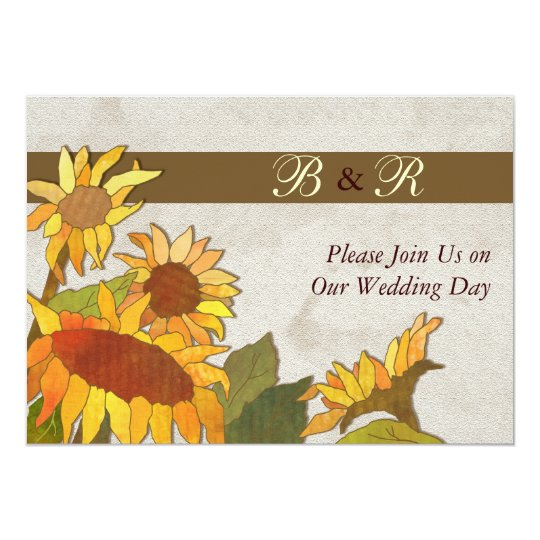 Sunflowers Monogram Wedding Invitation