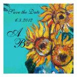 SUNFLOWERS Monogram ,yellow turquase blue green Invite