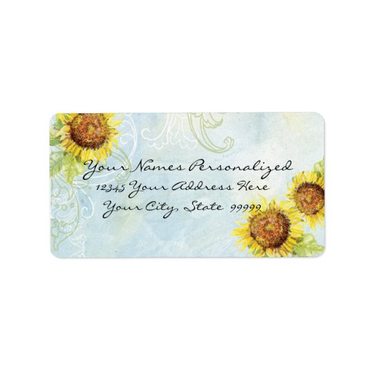 Sunflowers 'n Swirls, Wedding Invitation Labels