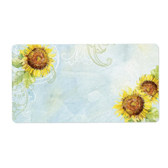Sunflowers 'n Swirls, Wedding Invitation Labels