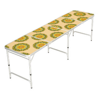 Sunflowers, Nature Mandala 004 Beer Pong Table