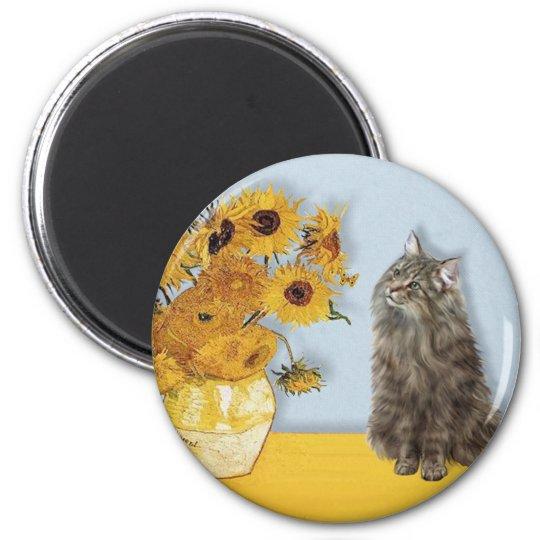 Sunflowers - Norwegian Forest cat 6 Cm Round Magnet