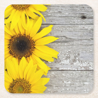 Sunflowers on a Table Square Paper Coaster