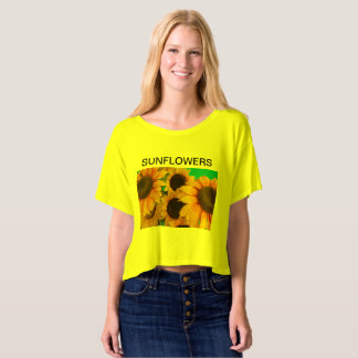 sunflowers on  Bella+Canvas Boxy Crop Top T-Shirt