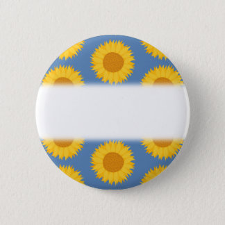 Sunflowers on Blue. Floral Pattern. 6 Cm Round Badge