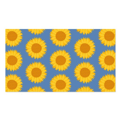 Sunflowers on Blue. Floral Pattern. Business Card Template
