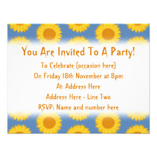 Sunflowers on Blue Floral Pattern Invitations