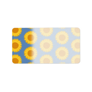 Sunflowers on Blue. Floral Pattern. Label