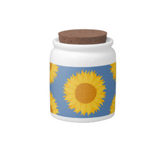 Sunflowers on Blue Floral Pattern Candy Jar
