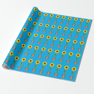 Sunflowers on Blue Wrapping Paper