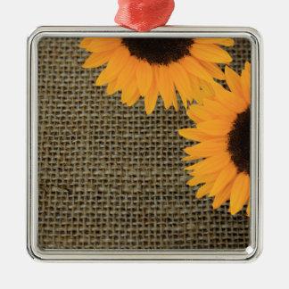 Sunflowers on burlap christmas ornament