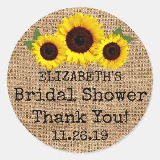 Sunflowers On Burlap Fall Bridal Shower Favor Classic Round Sticker
