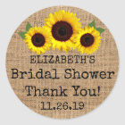 Sunflowers On Burlap Fall Bridal Shower Favour Classic Round Sticker