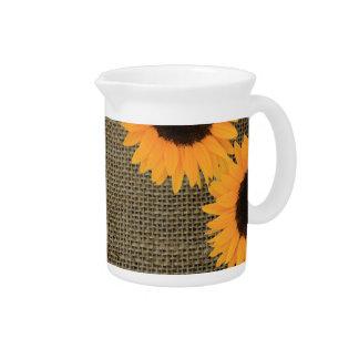 Sunflowers on burlap pitcher