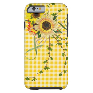 Sunflowers on Gingham Tough iPhone 6 Case