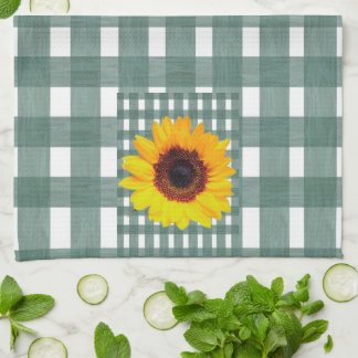 Sunflowers on Green Gingham Kitchen Towel