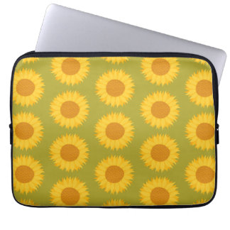 Sunflowers on Khaki Green. Floral Pattern. Laptop Sleeve