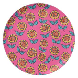 Sunflowers on pink plate