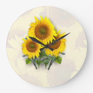 Sunflowers on Sunflowers Large Clock