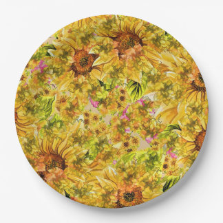 Sunflowers Paper Plate