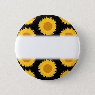Sunflowers Pattern on Black. 6 Cm Round Badge