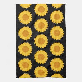 Sunflowers Pattern on Black Towel