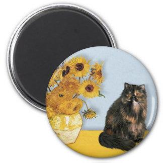 Sunflowers - Persian Calico cat Refrigerator Magnet