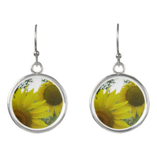 Sunflowers Photo Drop Earrings