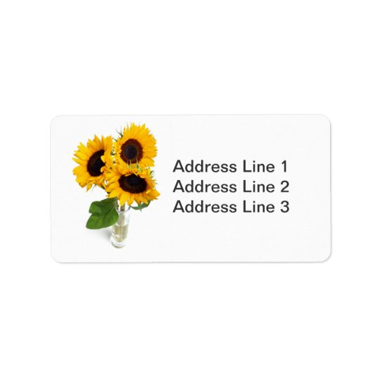 Sunflowers Photo Label Address Label