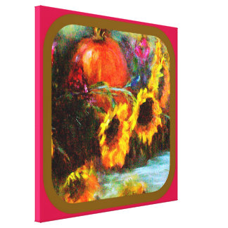 Sunflowers & Pumpkin Painting  by Sharles Gallery Wrap Canvas