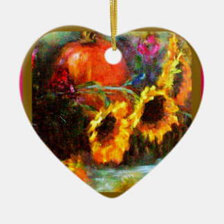 Sunflowers & Pumpkin Painting  by Sharles Christmas Ornament