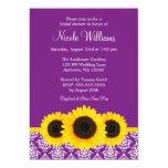 Sunflowers Purple and White Damask Bridal Shower Personalized Invitation