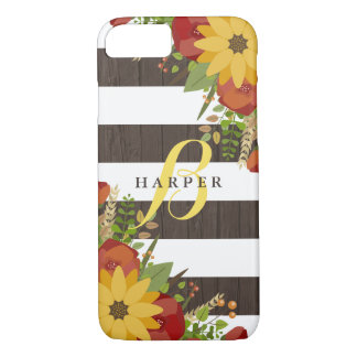 Sunflowers & Red Roses Wood Stripes | Monogram iPhone 8/7 Case
